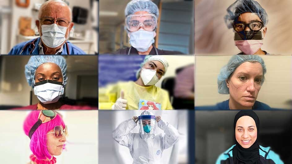 A collage of faces of frontline health care workers.