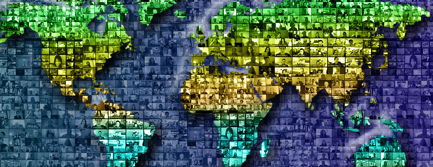 An illustration of a world map with a background of multiple small Zoom screens