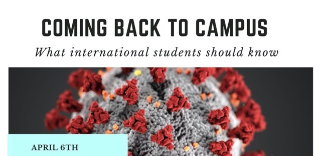 The words Coming Back to Campus, What International Students Should Know over an image of the coronavirus