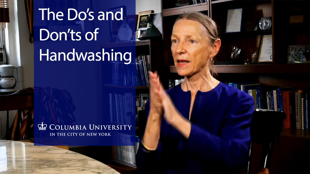 The Do's and Don't's of Handwashing: A woman with hair pulled back, wearing a royal blue top and rubbing her hands together.