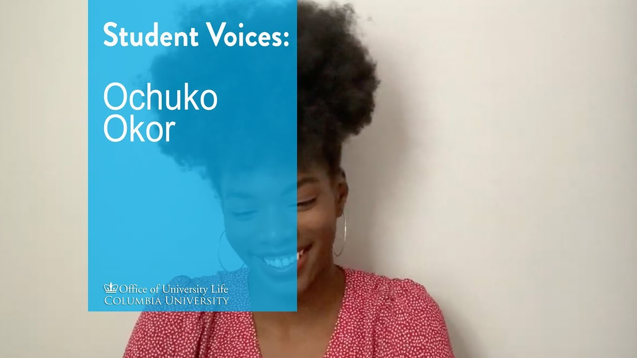 Photo of Ochuko Okor, a young Black woman with an afro puff on top of her head. She's wearing a red and white polka dot v-neck and smiling. A light blue transparency over the images says Student Voices: Ochuko Okor