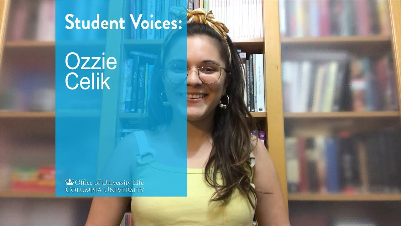Photo of Ozzie Celik, a young woman with long brown hair in front of a bookcase. She's wearing a yellow tank top, yellow bow in her hair, glasses and long earrings. A light blue transparency over the images says Student Voices: Ozzie Celik