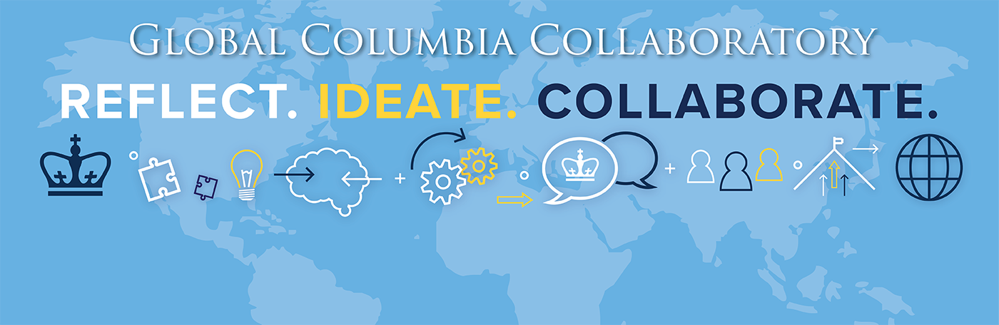 The words Global Columbia Collaboratory and Reflect. Ideate. Collaborate. on a pale blue background