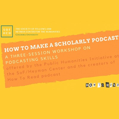 White text on yellow background: How to Make A Scholarly Podcast