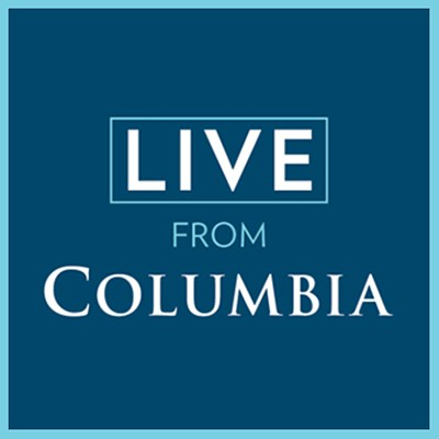 Blue background with white text that says Live from Columbia.