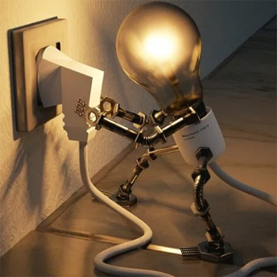A photo illustration of a lightbulb robot plugging a power cord into a socket.