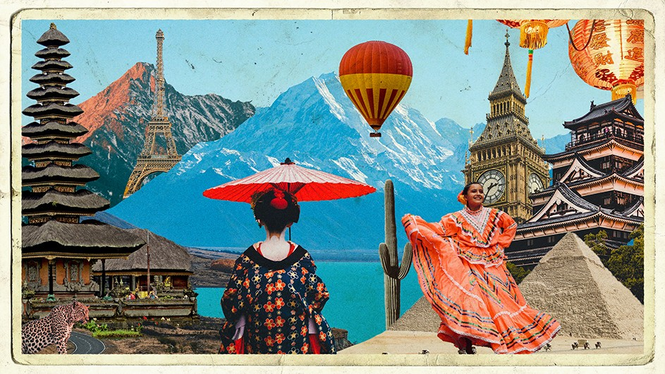 A colorful image of travel icons, monuments, figures, and mountains.