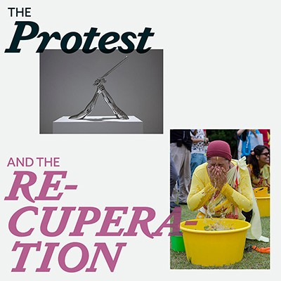 Two images of artworks for the exhibition The Protest and the Recuperation.